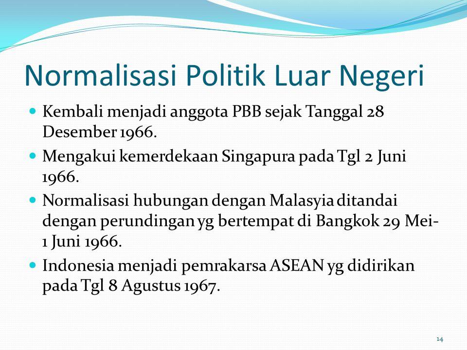 Normalisasi Politik Luar Negeri Kembali menjadi anggota PBB sejak Tanggal 28 Desember 1966. Mengakui kemerdekaan Singapura pada Tgl 2 Juni 1966. Norma