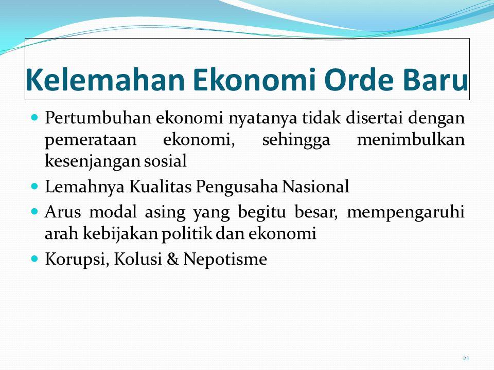 Kelemahan Ekonomi Orde Baru Pertumbuhan ekonomi nyatanya tidak disertai dengan pemerataan ekonomi, sehingga menimbulkan kesenjangan sosial Lemahnya Ku