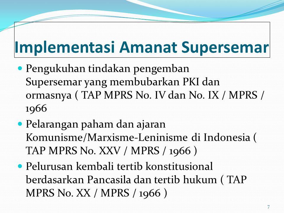 Implementasi Amanat Supersemar Pengukuhan tindakan pengemban Supersemar yang membubarkan PKI dan ormasnya ( TAP MPRS No. IV dan No. IX / MPRS / 1966 P