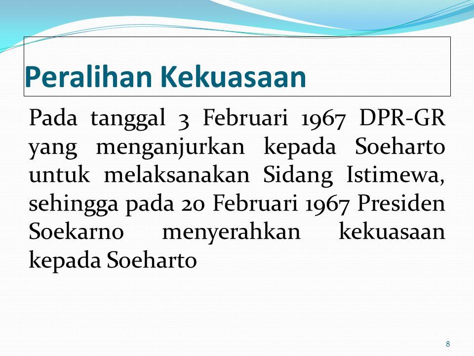 Peralihan Kekuasaan Pada tanggal 3 Februari 1967 DPR-GR yang menganjurkan kepada Soeharto untuk melaksanakan Sidang Istimewa, sehingga pada 20 Februar