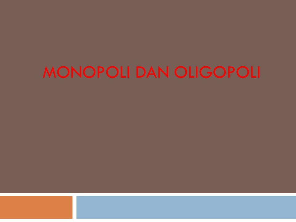Pasar Monopoli  Adalah kondisi pasar dimana hanya ada satu pelaku bisnis atau perusahaan yang menjual produk atau komoditas tertentu dan ada hambatan bagi bagi perusahaan atau pelaku bisnis untuk masuk ke dalam bisnis tersebut.
