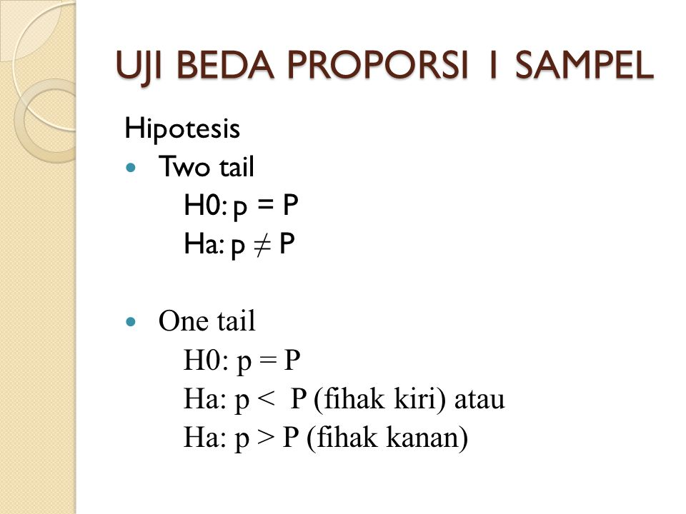 UJI BEDA PROPORSI 1 SAMPEL Hipotesis Two tail H0: p = P Ha: p ≠ P One tail H0: p = P Ha: p < P (fihak kiri) atau Ha: p > P (fihak kanan)