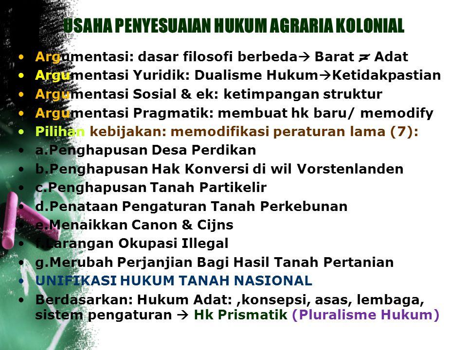 HUKUM TANAH BARAT (Lanjutan..) Dasar: Burgerlijk Wetboek (KUH Perdata) Buku II (Benda), Buku III (Perjanjian) & S 1834 No.27 ( Overschrijvings Ordonna
