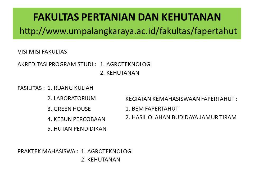 FAKULTAS PERTANIAN DAN KEHUTANAN http://www.umpalangkaraya.ac.id/fakultas/fapertahut VISI MISI FAKULTAS AKREDITASI PROGRAM STUDI :1.