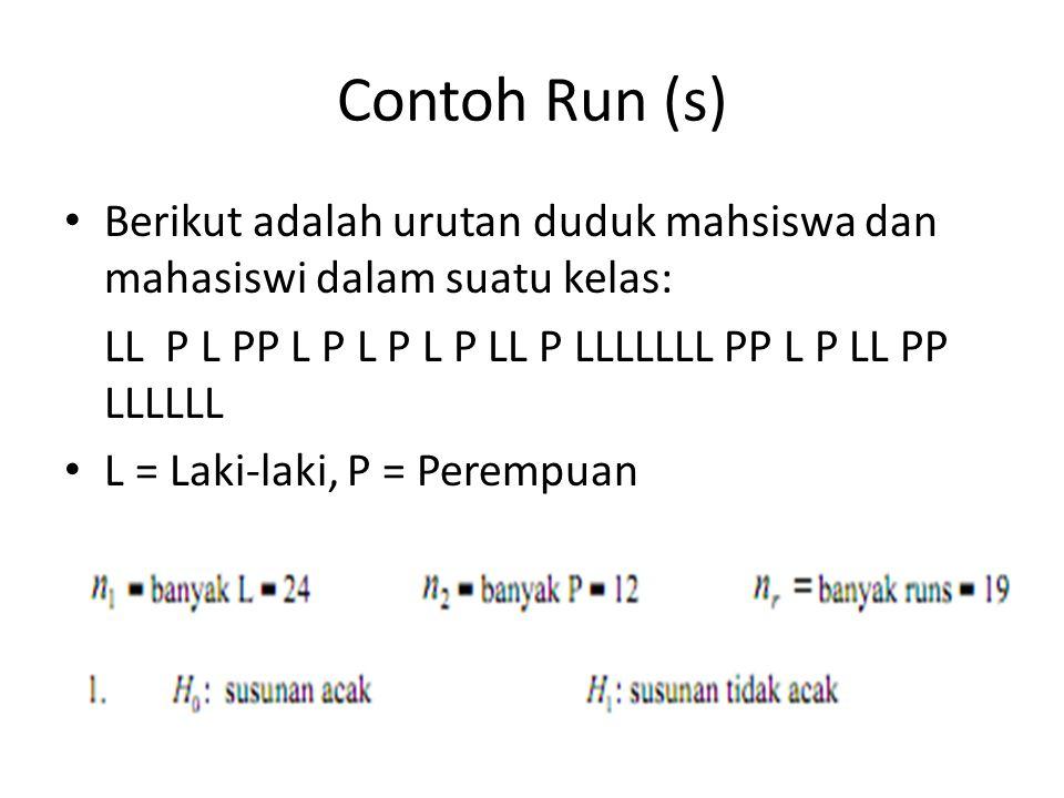 Contoh Run (s) Berikut adalah urutan duduk mahsiswa dan mahasiswi dalam suatu kelas: LL P L PP L P L P L P LL P LLLLLLL PP L P LL PP LLLLLL L = Laki-l