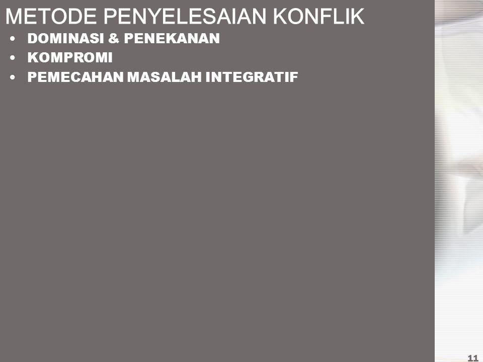 METODE PENYELESAIAN KONFLIK DOMINASI & PENEKANAN KOMPROMI PEMECAHAN MASALAH INTEGRATIF 11