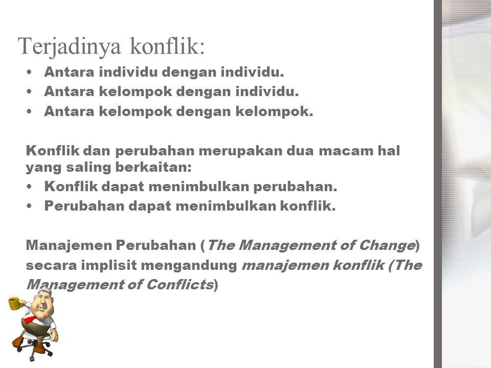 Terjadinya konflik: Antara individu dengan individu. Antara kelompok dengan individu. Antara kelompok dengan kelompok. Konflik dan perubahan merupakan