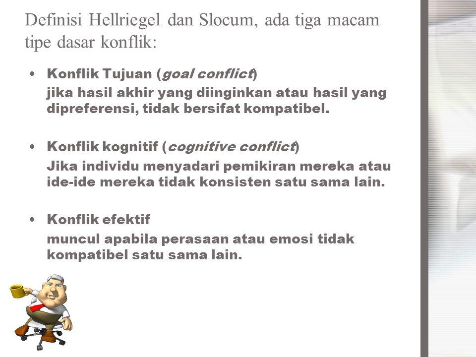 Definisi Hellriegel dan Slocum, ada tiga macam tipe dasar konflik: Konflik Tujuan (goal conflict) jika hasil akhir yang diinginkan atau hasil yang dip