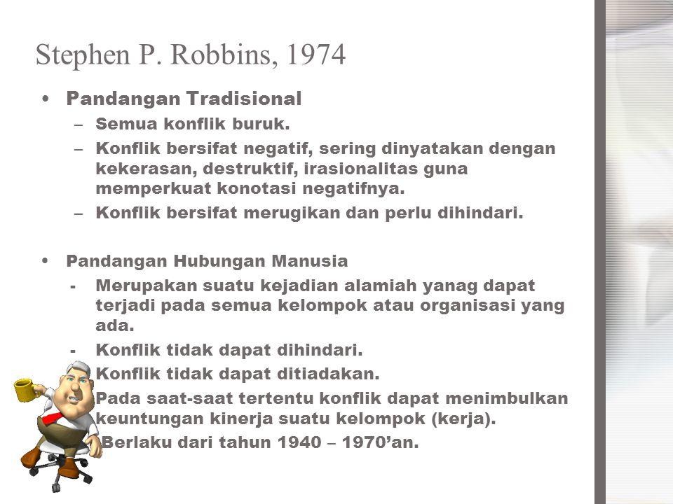 Stephen P. Robbins, 1974 Pandangan Tradisional –Semua konflik buruk. –Konflik bersifat negatif, sering dinyatakan dengan kekerasan, destruktif, irasio