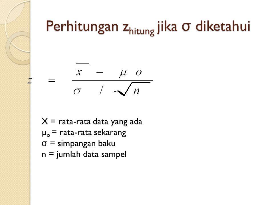 Perhitungan z hitung jika σ diketahui X = rata-rata data yang ada µ o = rata-rata sekarang σ = simpangan baku n = jumlah data sampel