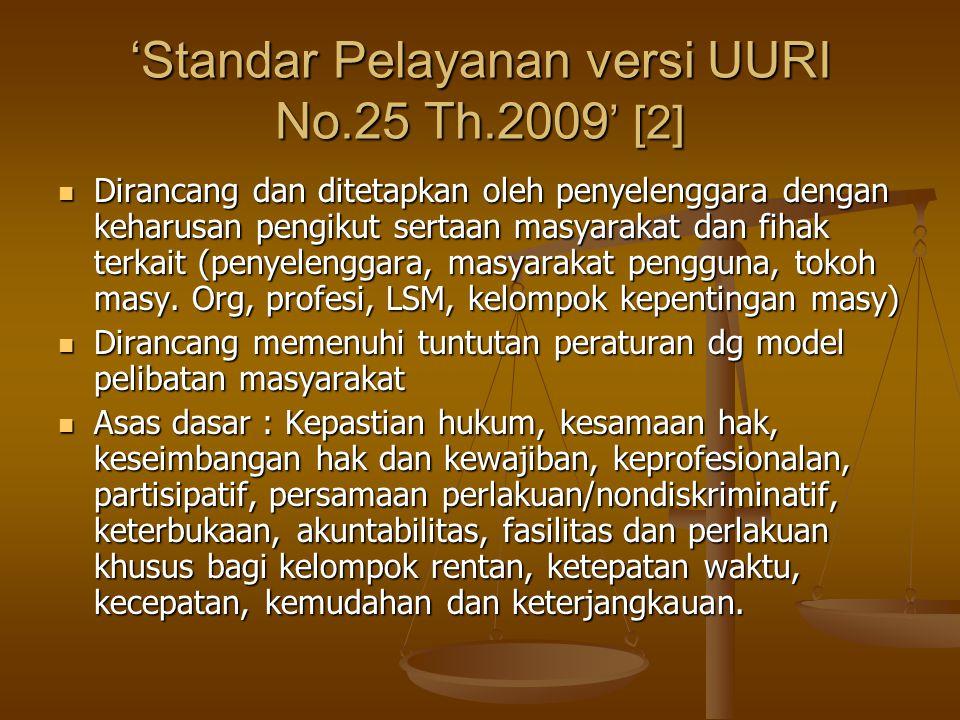 'Standar Pelayanan versi UURI No.25 Th.2009 ' [2] Dirancang dan ditetapkan oleh penyelenggara dengan keharusan pengikut sertaan masyarakat dan fihak t