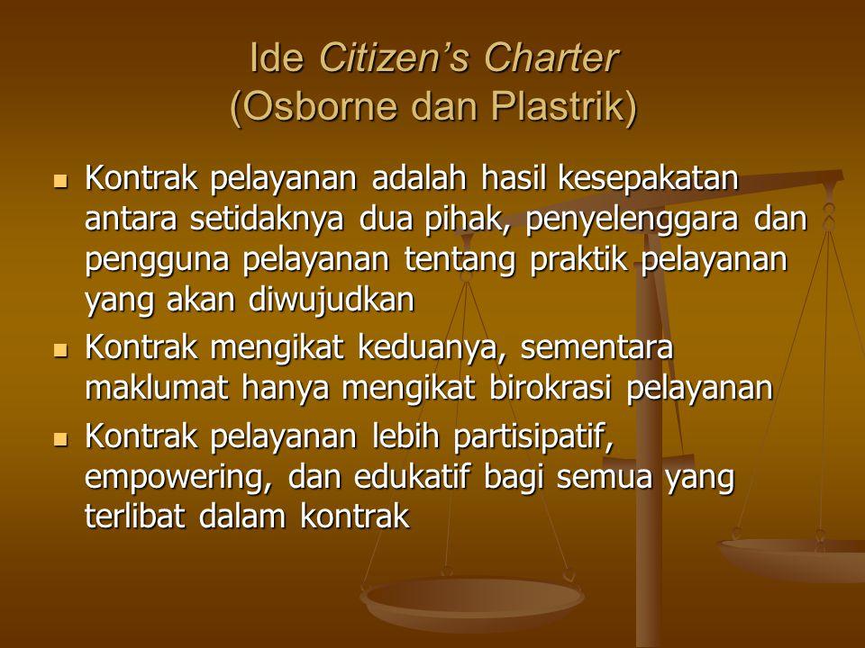 Ide Citizen's Charter (Osborne dan Plastrik) Kontrak pelayanan adalah hasil kesepakatan antara setidaknya dua pihak, penyelenggara dan pengguna pelaya