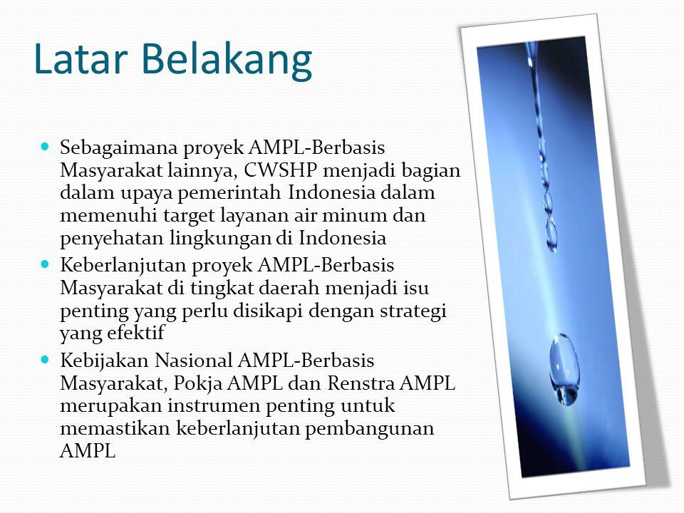 Kebijakan Nasional AMPL-BM dan CWSHP Memastikan hasil pembangunan AMPL berkelanjutan melalui: Penerapan prinsip keberlanjutan dalam keseluruhan proses pembangunan Transformasi rasa kepemilikan masyarakat terhadap proyek dalam seluruh tahapan pelaksanaan Memampukan masyarakat sebagai pelaku utama terhadap pelaksanaan program Alih pengetahuan dan kemampuan kepada pemerintah daerah sebagai pemegang mandat dalam pemenuhan layanan AMPL
