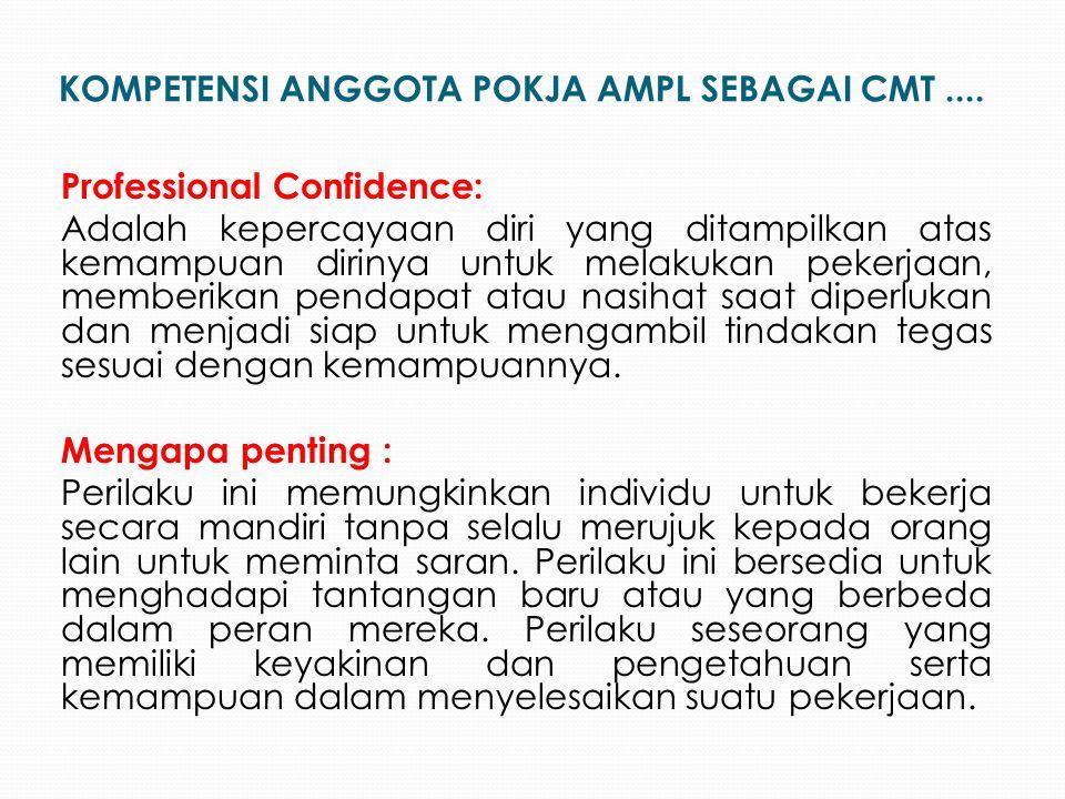 Professional Confidence: Adalah kepercayaan diri yang ditampilkan atas kemampuan dirinya untuk melakukan pekerjaan, memberikan pendapat atau nasihat s
