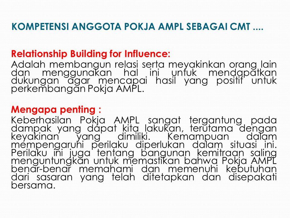 Relationship Building for Influence: Adalah membangun relasi serta meyakinkan orang lain dan menggunakan hal ini untuk mendapatkan dukungan agar menca