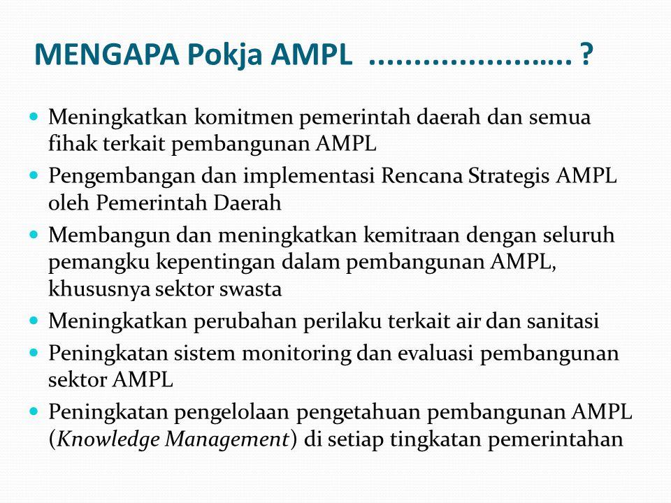 MENGAPA Pokja AMPL..................….. ? Meningkatkan komitmen pemerintah daerah dan semua fihak terkait pembangunan AMPL Pengembangan dan implementa
