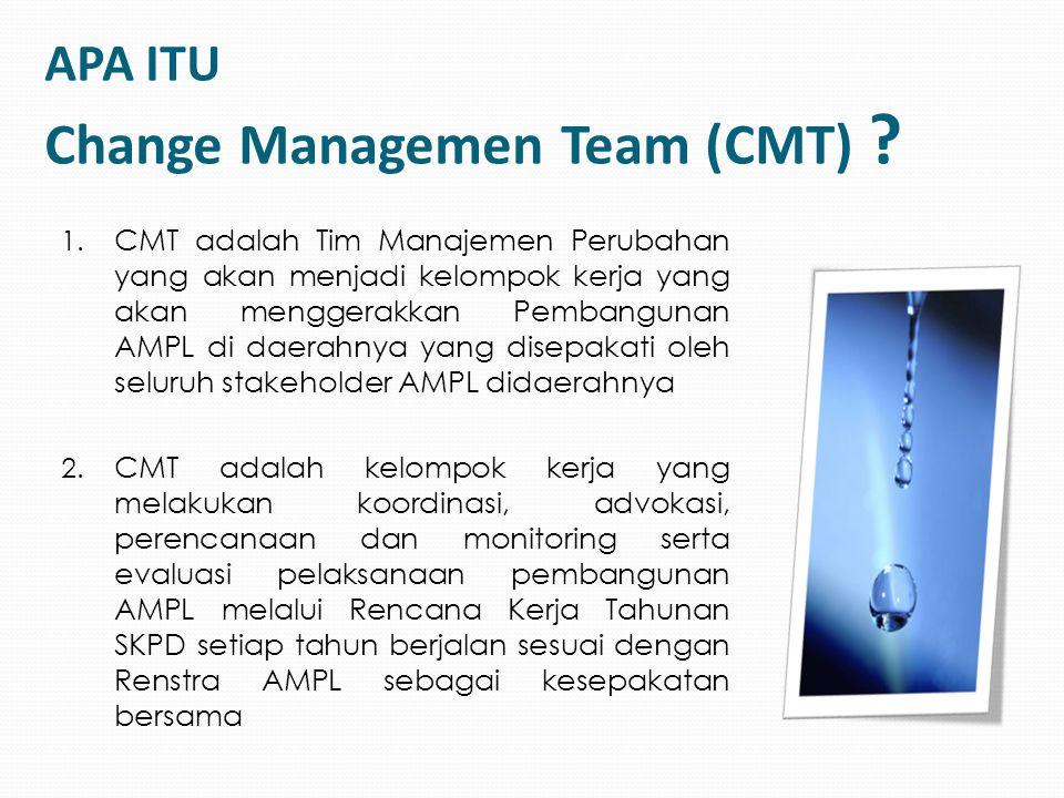 APA ITU Change Managemen Team (CMT) ? 1. CMT adalah Tim Manajemen Perubahan yang akan menjadi kelompok kerja yang akan menggerakkan Pembangunan AMPL d