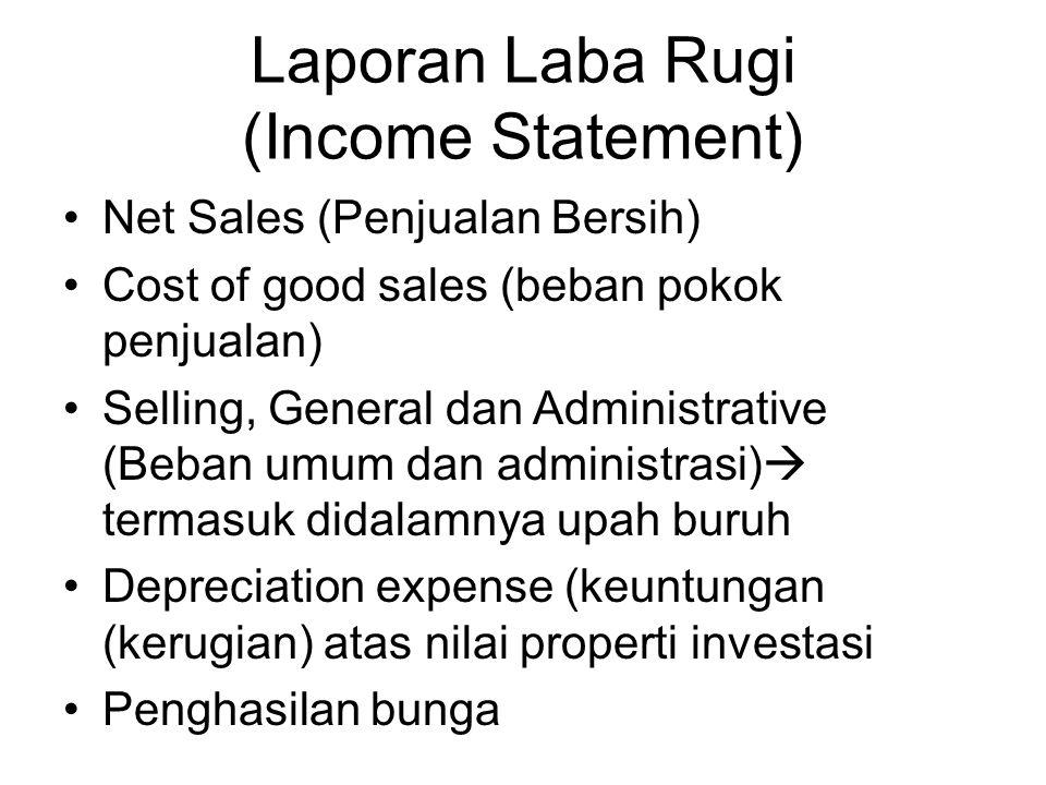 Laporan Laba Rugi (Income Statement) Net Sales (Penjualan Bersih) Cost of good sales (beban pokok penjualan) Selling, General dan Administrative (Beba