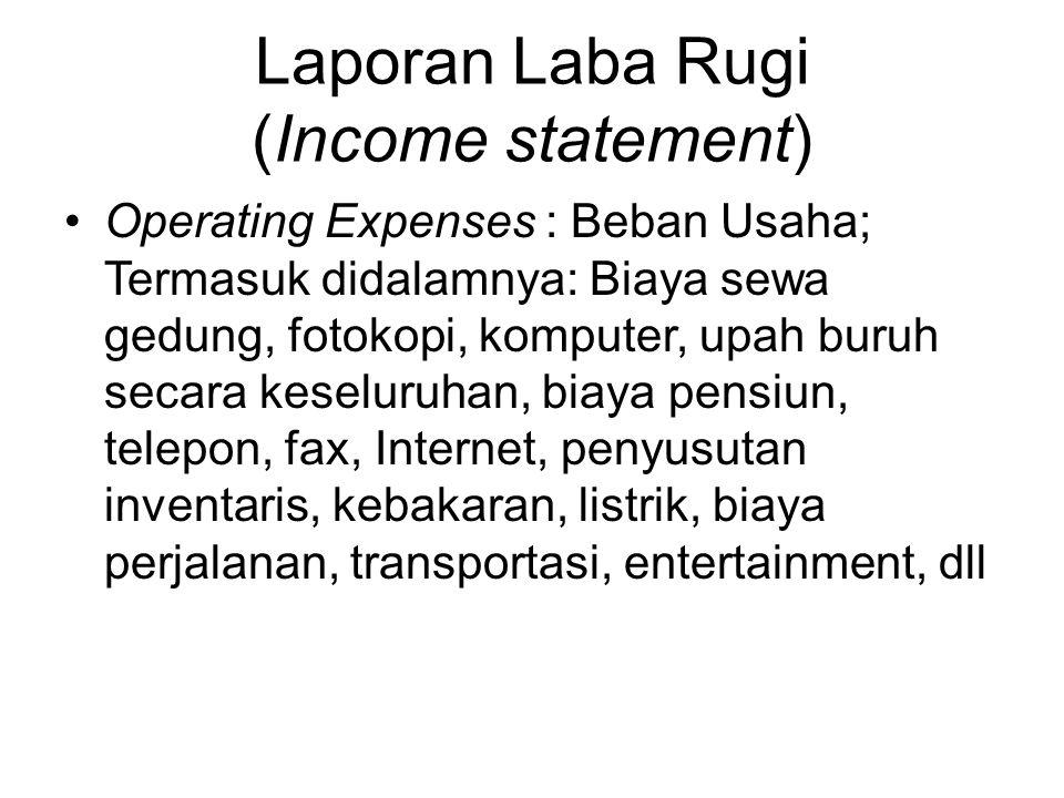 Laporan Laba Rugi (Income statement) Operating Expenses : Beban Usaha; Termasuk didalamnya: Biaya sewa gedung, fotokopi, komputer, upah buruh secara k