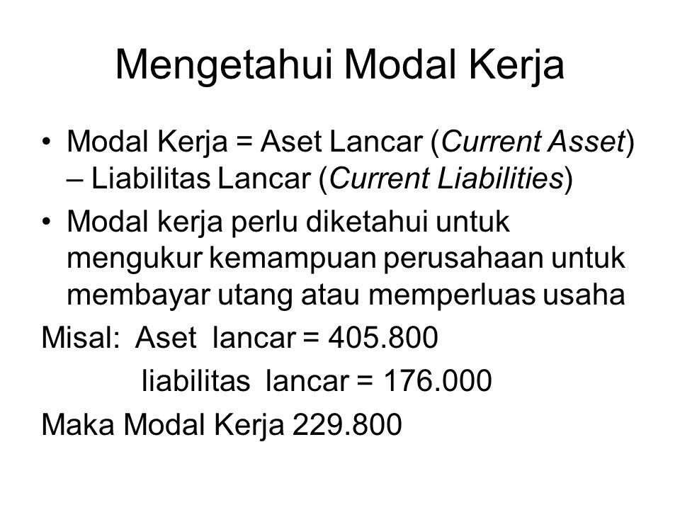 Mengetahui Modal Kerja Modal Kerja = Aset Lancar (Current Asset) – Liabilitas Lancar (Current Liabilities) Modal kerja perlu diketahui untuk mengukur