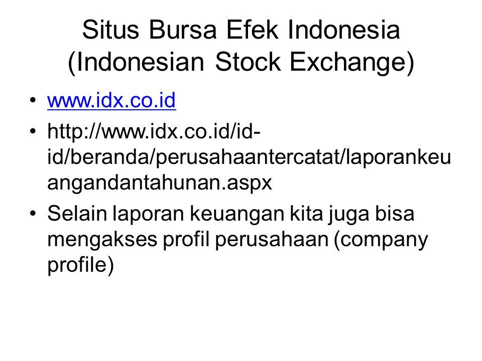 Situs Bursa Efek Indonesia (Indonesian Stock Exchange) www.idx.co.id http://www.idx.co.id/id- id/beranda/perusahaantercatat/laporankeu angandantahunan