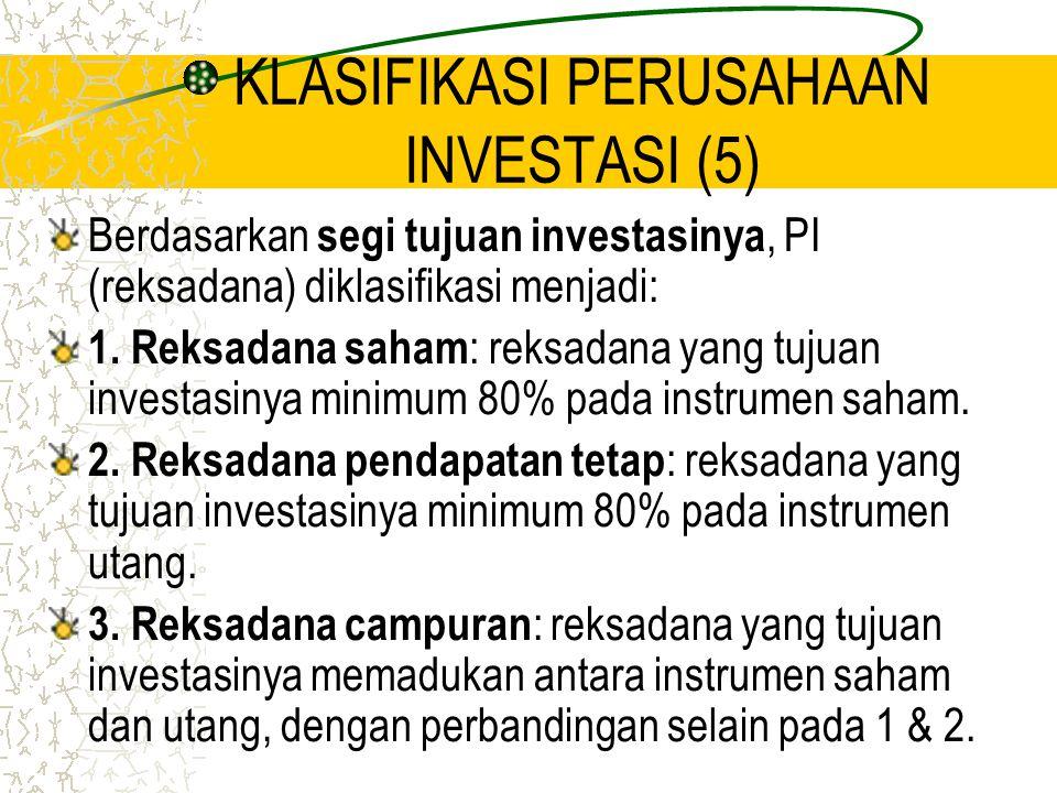 KLASIFIKASI PERUSAHAAN INVESTASI (5) Berdasarkan segi tujuan investasinya, PI (reksadana) diklasifikasi menjadi: 1. Reksadana saham : reksadana yang t