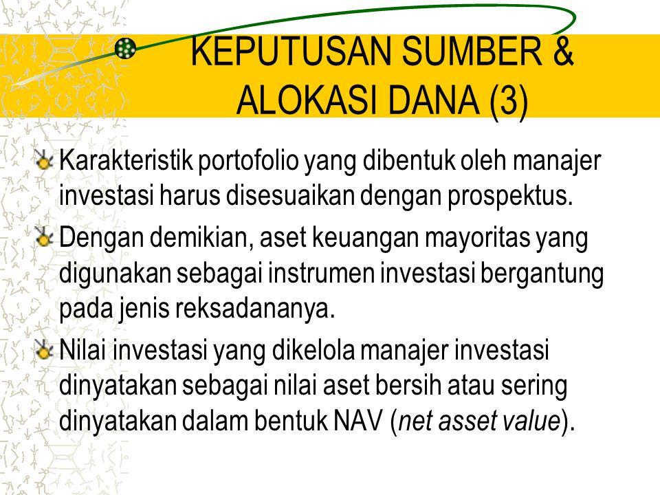 KEPUTUSAN SUMBER & ALOKASI DANA (3) Karakteristik portofolio yang dibentuk oleh manajer investasi harus disesuaikan dengan prospektus. Dengan demikian