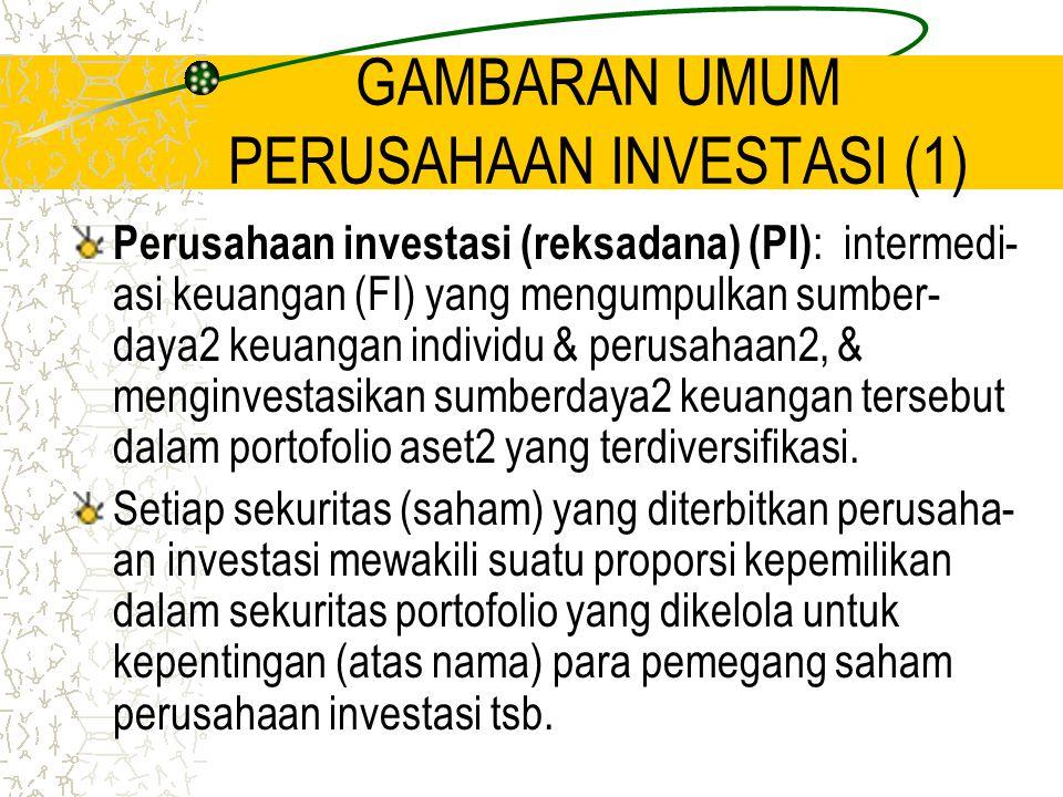 GAMBARAN UMUM PERUSAHAAN INVESTASI (1) Perusahaan investasi (reksadana) (PI) : intermedi- asi keuangan (FI) yang mengumpulkan sumber- daya2 keuangan i