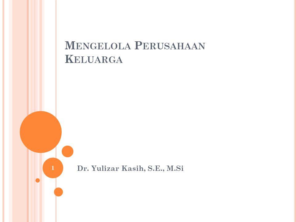 M ENGELOLA P ERUSAHAAN K ELUARGA Dr. Yulizar Kasih, S.E., M.Si 1