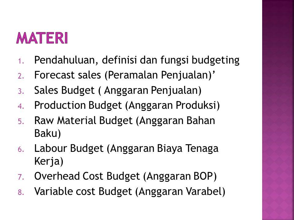 1.Pendahuluan, definisi dan fungsi budgeting 2. Forecast sales (Peramalan Penjualan)' 3.
