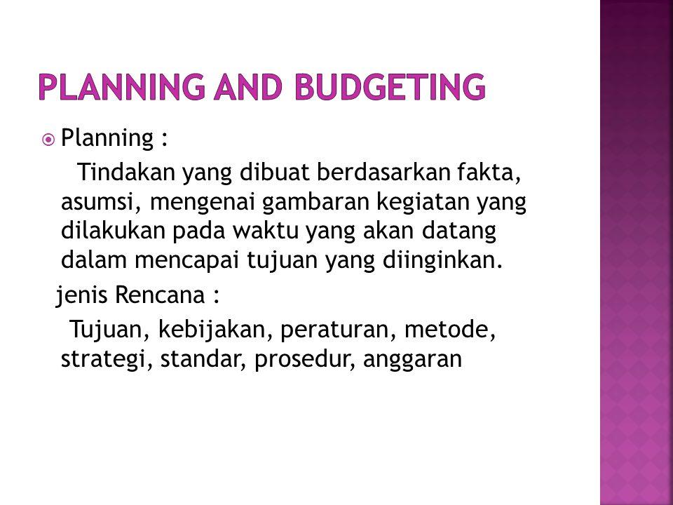  Planning : Tindakan yang dibuat berdasarkan fakta, asumsi, mengenai gambaran kegiatan yang dilakukan pada waktu yang akan datang dalam mencapai tujuan yang diinginkan.