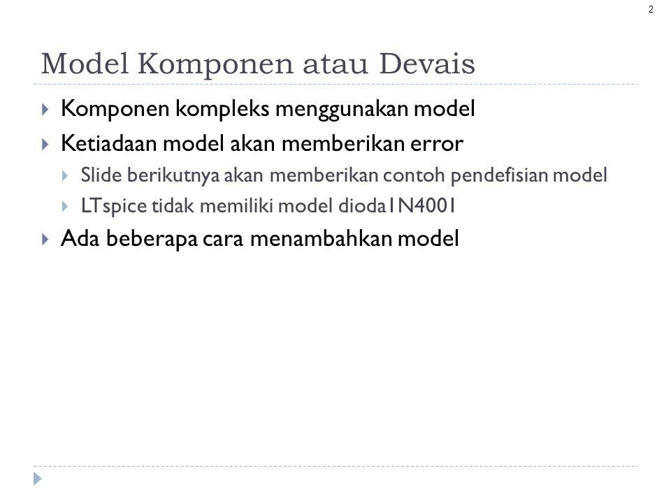 13 Tambahan Isu Model dan Subcircuit  Berbagai model devais intrinsik tersedia pada SPICE dalam kode programnya.
