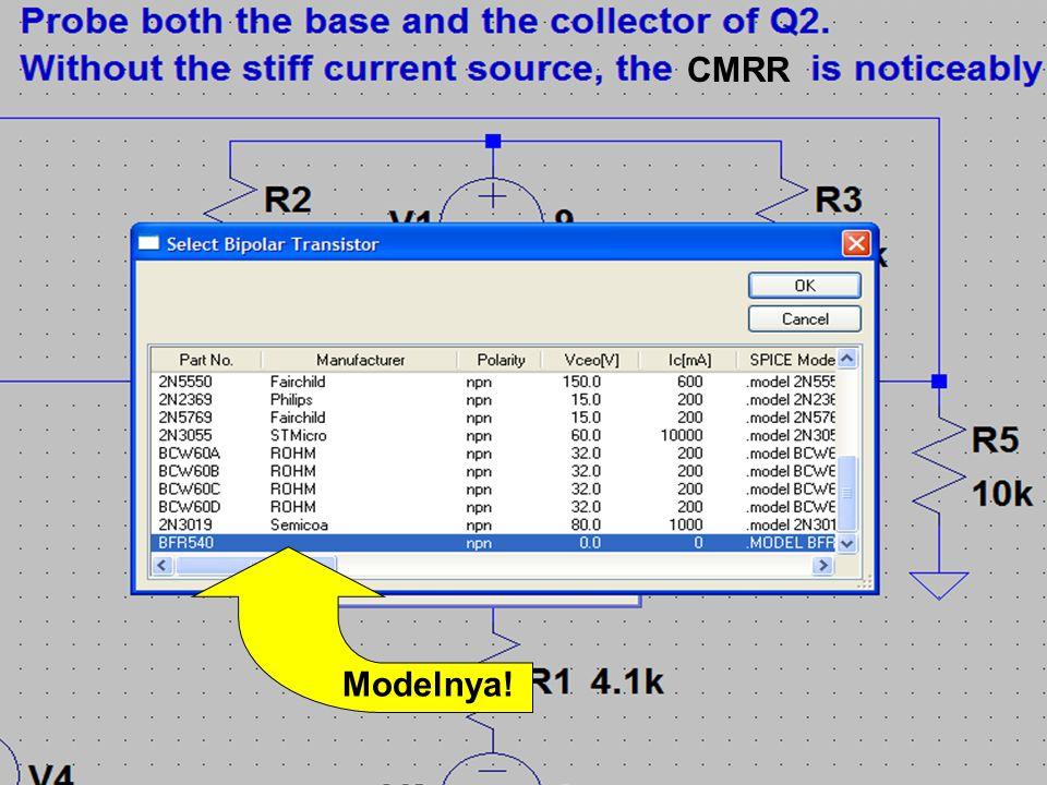 6 Model SPICE untuk BFR540.MODEL BFR540 NPN + IS = 1.04516E-015 + BF = 1.84359E+002 + NF = 9.81774E-001 + VAF = 4.16981E+001 + IKF = 1.00000E+001 + ISE = 2.32436E-013 + NE = 2.02825E+000 + BR = 4.39917E+001 + NR = 9.92532E-001 + VAR = 2.09773E+000 + IKR = 1.66296E-001 + ISC = 1.29849E-016 + NC = 1.06486E+000 + RB = 5.00000E+000 + IRB = 1.00000E-006 + RBM = 5.00000E+000 + RE = 3.53552E-001 + RC = 1.34000E+000 + EG = 1.11000E+000 + XTI = 3.00000E+000 + CJE = 1.97895E-012 + VJE = 6.00000E-001 + MJE = 3.32695E-001 + TF = 7.45719E-012 + XTF = 1.14072E+001 + VTF = 3.15854E+000 + ITF = 1.56917E-001 + CJC = 7.93745E-013 + VJC = 1.85522E-001 + MJC = 8.41656E-002.ENDS