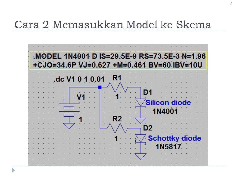 8 Penambahan Model ke Skematik 1.Salin teks model ke clipboard Control+C 2.