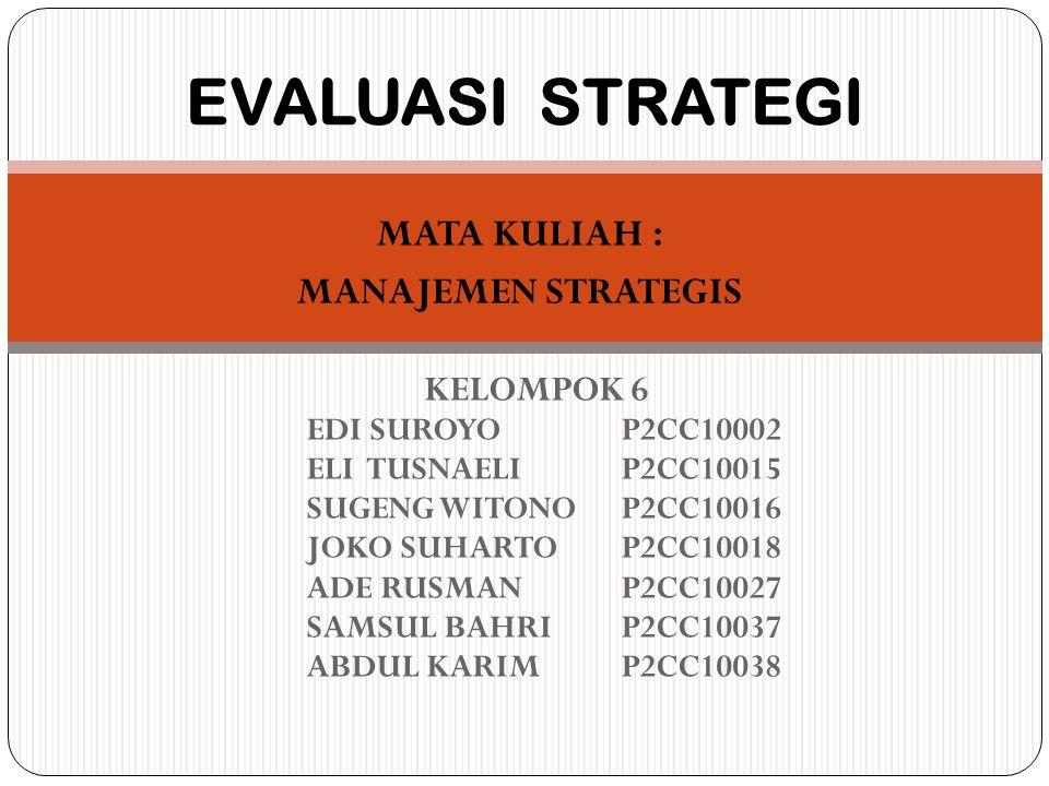 Mengukur Kinerja Organisasi Persoalan potensial dalam penerapan Evaluasi strategi dengan kriteria kuantitatif : 1.