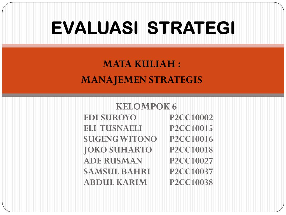 Hakikat Evaluasi Strategi Tiga Aktivitas Pokok Evaluasi Strategi : 1.