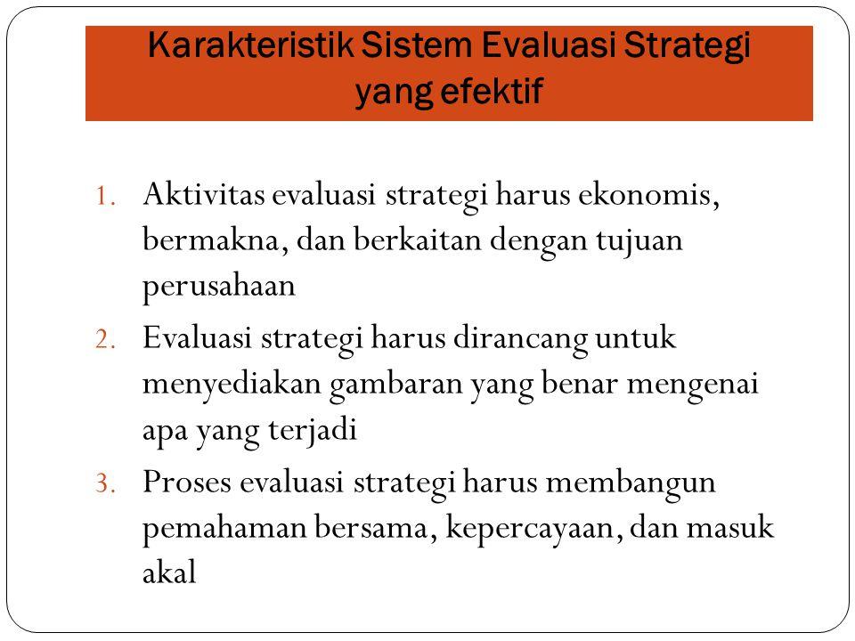 1. Aktivitas evaluasi strategi harus ekonomis, bermakna, dan berkaitan dengan tujuan perusahaan 2. Evaluasi strategi harus dirancang untuk menyediakan