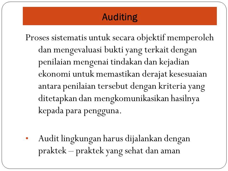 Proses sistematis untuk secara objektif memperoleh dan mengevaluasi bukti yang terkait dengan penilaian mengenai tindakan dan kejadian ekonomi untuk memastikan derajat kesesuaian antara penilaian tersebut dengan kriteria yang ditetapkan dan mengkomunikasikan hasilnya kepada para pengguna.