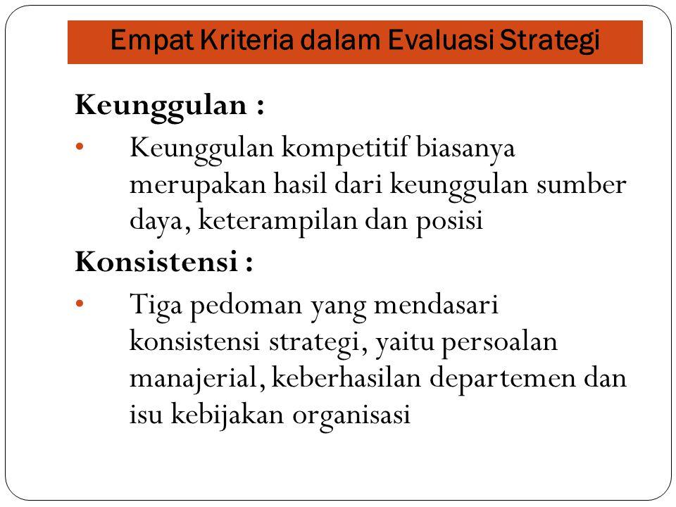 Empat Kriteria dalam Evaluasi Strategi Keunggulan : Keunggulan kompetitif biasanya merupakan hasil dari keunggulan sumber daya, keterampilan dan posisi Konsistensi : Tiga pedoman yang mendasari konsistensi strategi, yaitu persoalan manajerial, keberhasilan departemen dan isu kebijakan organisasi