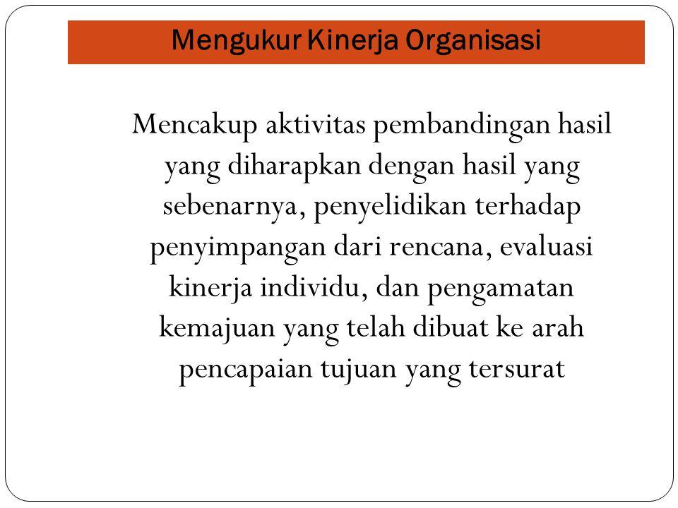 Mengukur Kinerja Organisasi Kriteria Kuantitatif berdasarkan tiga perbandingan : 1.