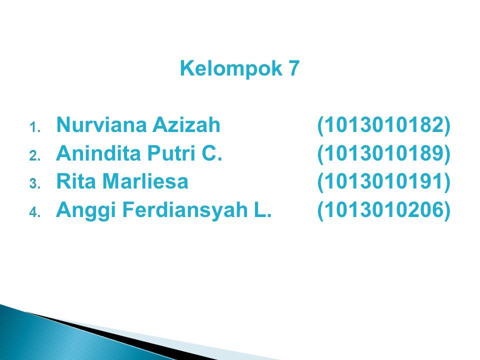 Kelompok 7 1. Nurviana Azizah(1013010182) 2. Anindita Putri C.(1013010189) 3. Rita Marliesa(1013010191) 4. Anggi Ferdiansyah L.(1013010206)