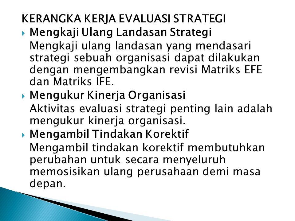 KERANGKA KERJA EVALUASI STRATEGI  Mengkaji Ulang Landasan Strategi Mengkaji ulang landasan yang mendasari strategi sebuah organisasi dapat dilakukan