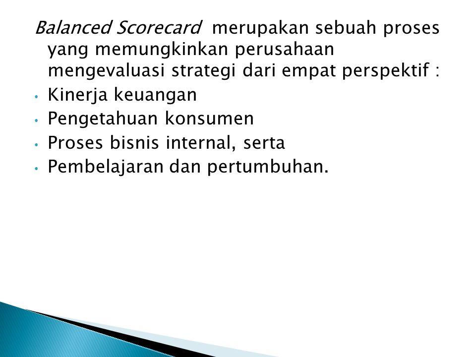 Balanced Scorecard merupakan sebuah proses yang memungkinkan perusahaan mengevaluasi strategi dari empat perspektif : Kinerja keuangan Pengetahuan kon