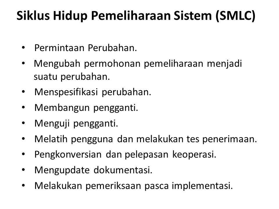 Siklus Hidup Pemeliharaan Sistem (SMLC) Permintaan Perubahan. Mengubah permohonan pemeliharaan menjadi suatu perubahan. Menspesifikasi perubahan. Memb
