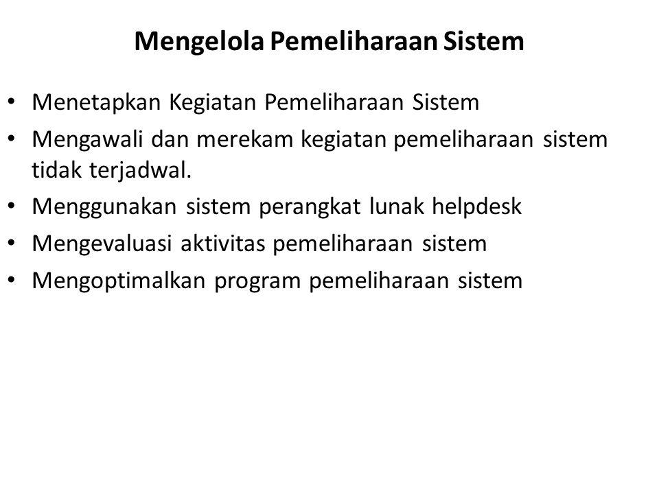 Mengelola Pemeliharaan Sistem Menetapkan Kegiatan Pemeliharaan Sistem Mengawali dan merekam kegiatan pemeliharaan sistem tidak terjadwal. Menggunakan