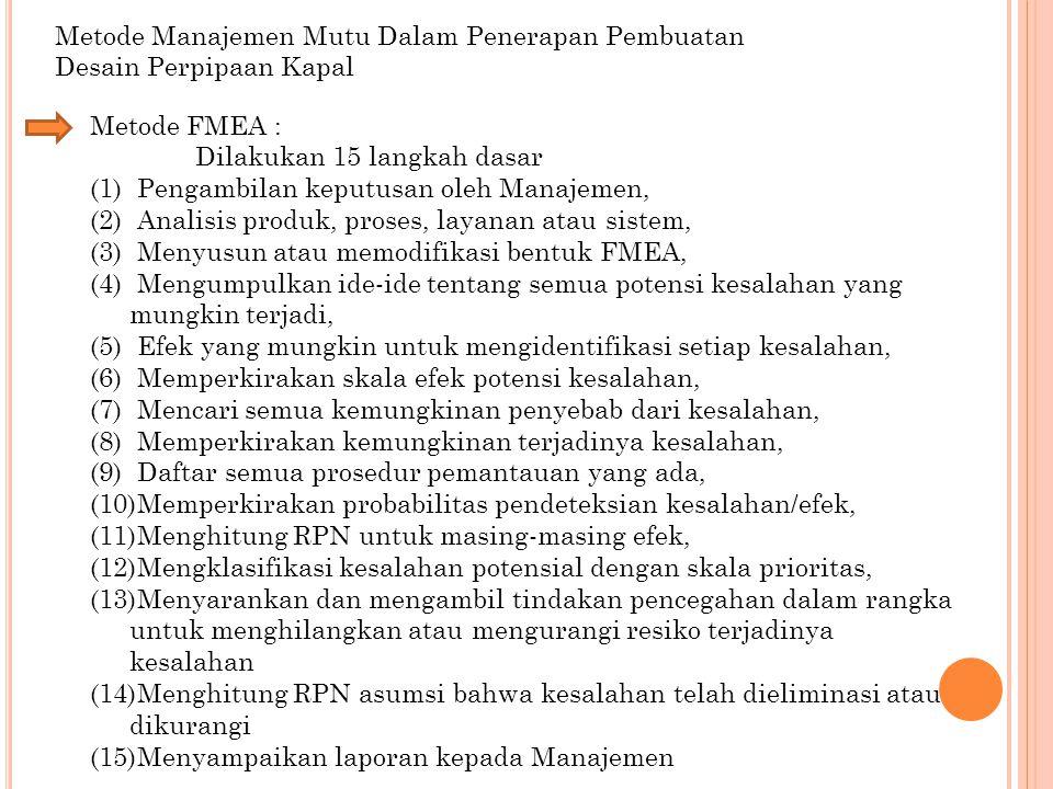 Metode Manajemen Mutu Dalam Penerapan Pembuatan Desain Perpipaan Kapal Metode FMEA : Dilakukan 15 langkah dasar (1) Pengambilan keputusan oleh Manajem