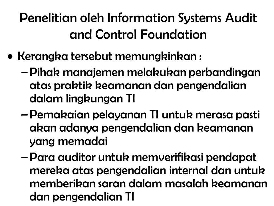 19/total Penelitian oleh Information Systems Audit and Control Foundation Kerangka tersebut memungkinkan : –Pihak manajemen melakukan perbandingan ata