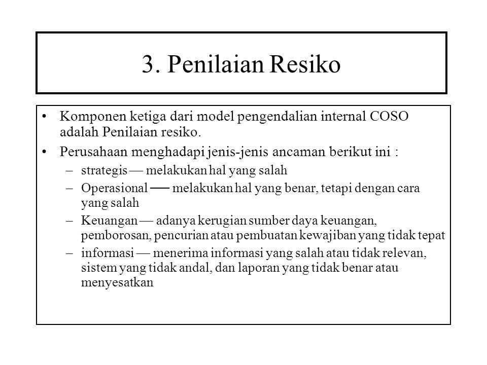 3. Penilaian Resiko Komponen ketiga dari model pengendalian internal COSO adalah Penilaian resiko. Perusahaan menghadapi jenis-jenis ancaman berikut i
