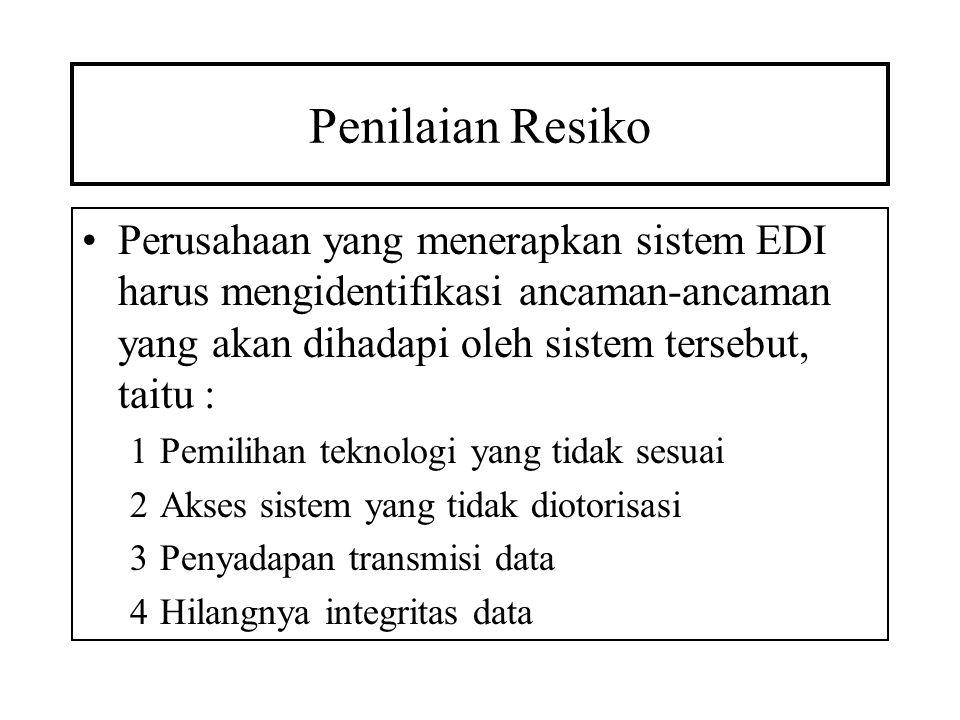Penilaian Resiko Perusahaan yang menerapkan sistem EDI harus mengidentifikasi ancaman-ancaman yang akan dihadapi oleh sistem tersebut, taitu : 1Pemili