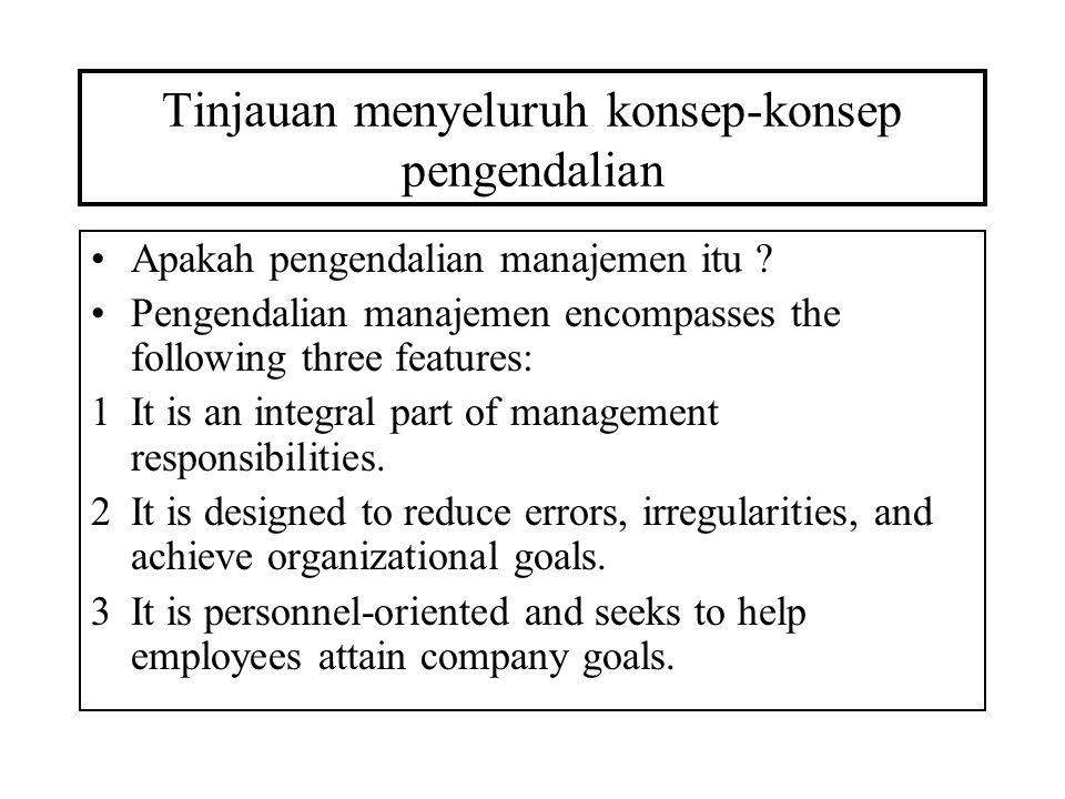 Tinjauan menyeluruh konsep-konsep pengendalian Apakah pengendalian manajemen itu ? Pengendalian manajemen encompasses the following three features: 1I